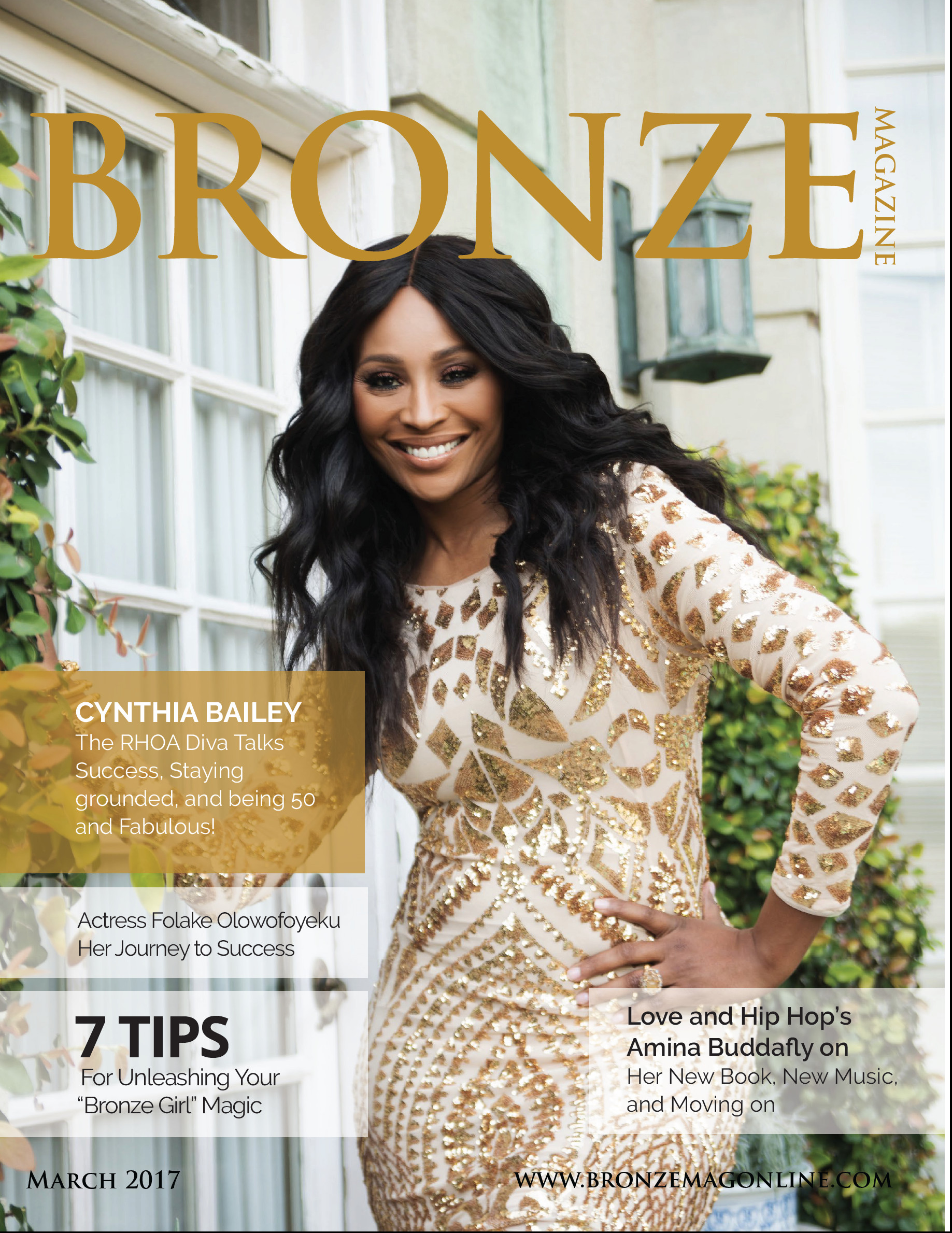 Cynthia Bailey, Real Housewife of Atlanta featured in Bronze Magazine's March Issue
